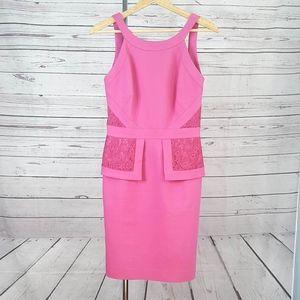 Antonio Melani pink lace peplum sleeveless dress